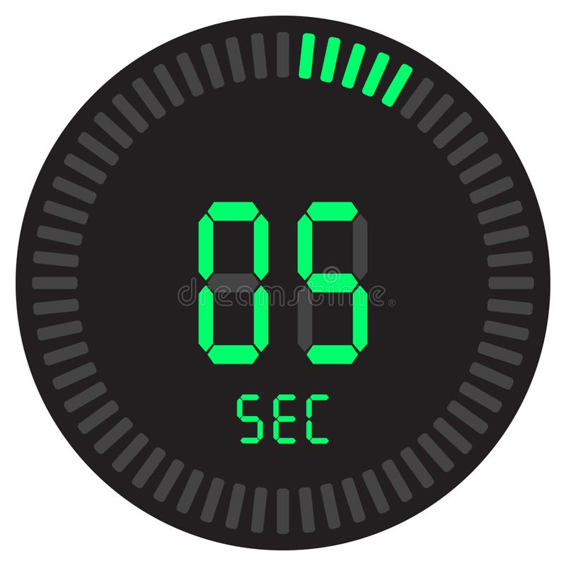 The digital timer 5 seconds. electronic stopwatch with a gradient dial starting vector icon, clock and watch, timer, countdown. The digital timer 5 seconds stock illustration