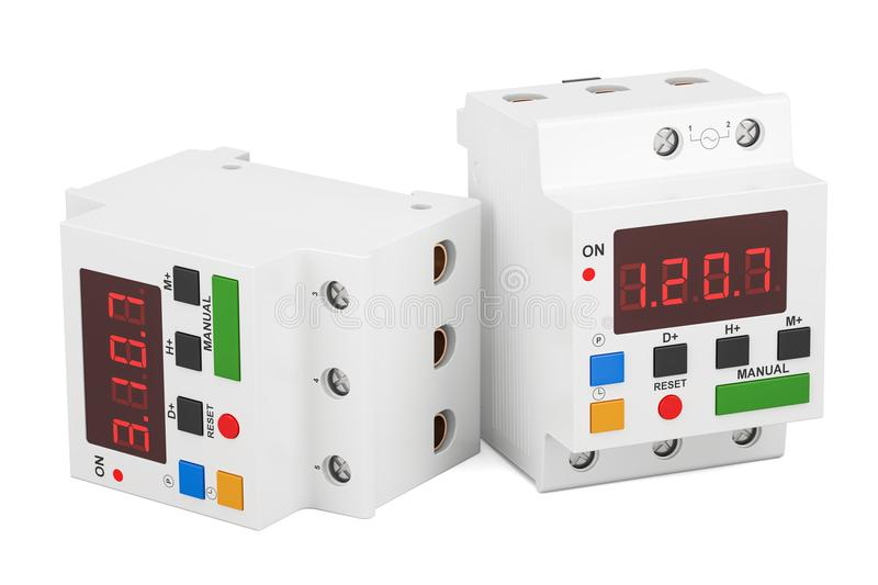 Digital timer switches, 3D rendering royalty free illustration