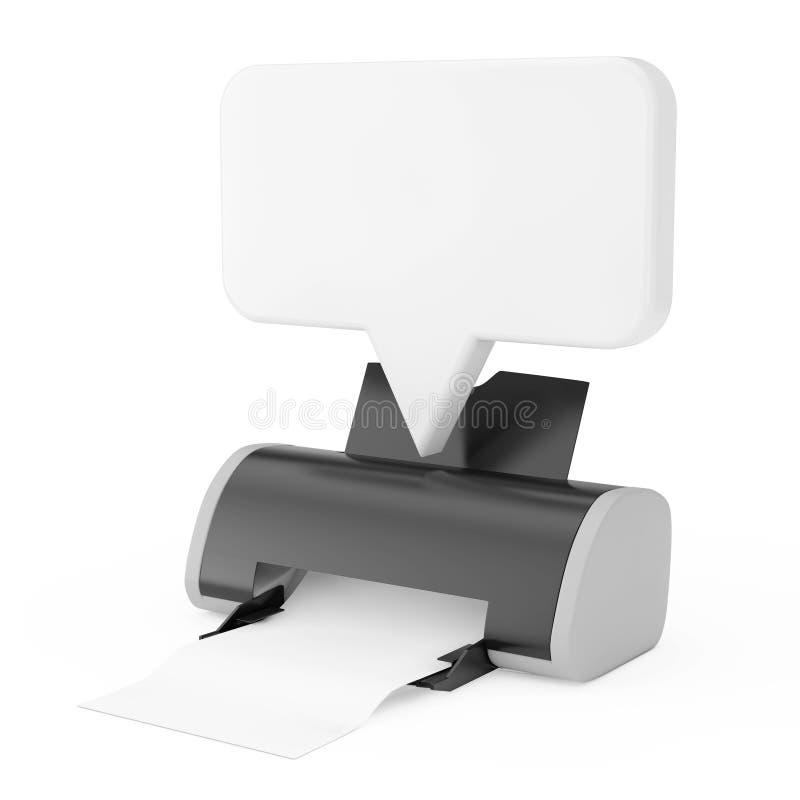 Digital-Tintenstrahl-Drucker mit Sprache-Blasen-Modell des freien Raumes weißem Wiedergabe 3d lizenzfreie abbildung