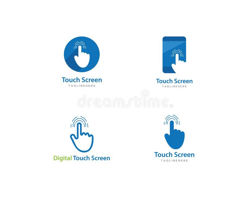 Digital touch screen technology logo. Vector stock illustration