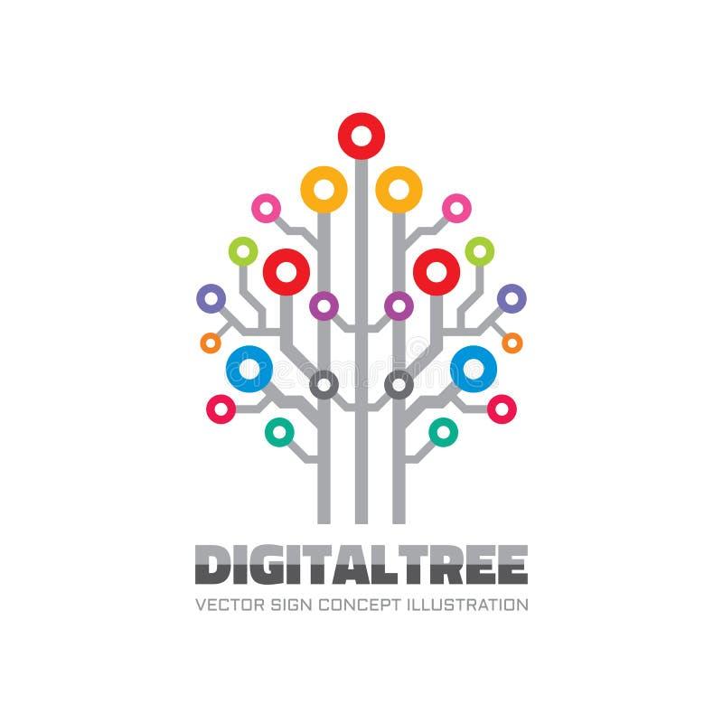 Digital träd - illustration för begrepp för mall för vektorlogotecken i plan stil Tecken för datornätteknologi elektronisk design stock illustrationer
