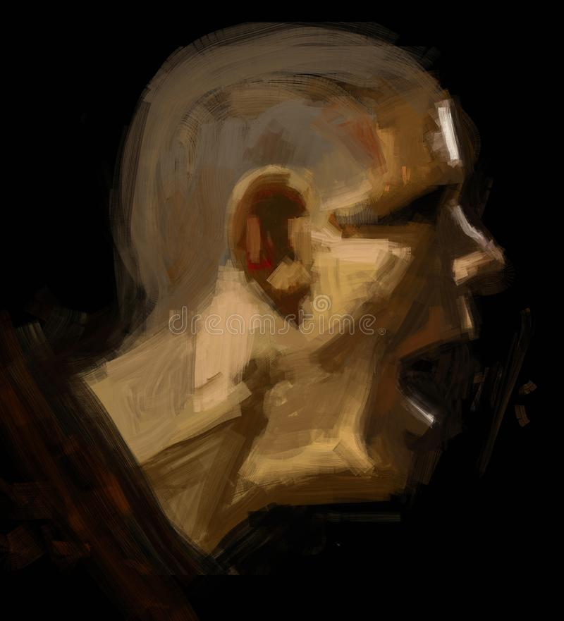 Digital traditional painting of an man screaming in the dark illustration. Brush stroke horror shouting isolation danger monk short hair pain desolation vector illustration