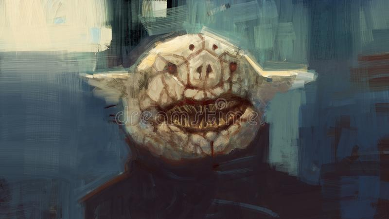 Digital traditional painting of a strange weird demon creature with carvings in the face portrait hybrid creature religious cult i. Llustration stock illustration
