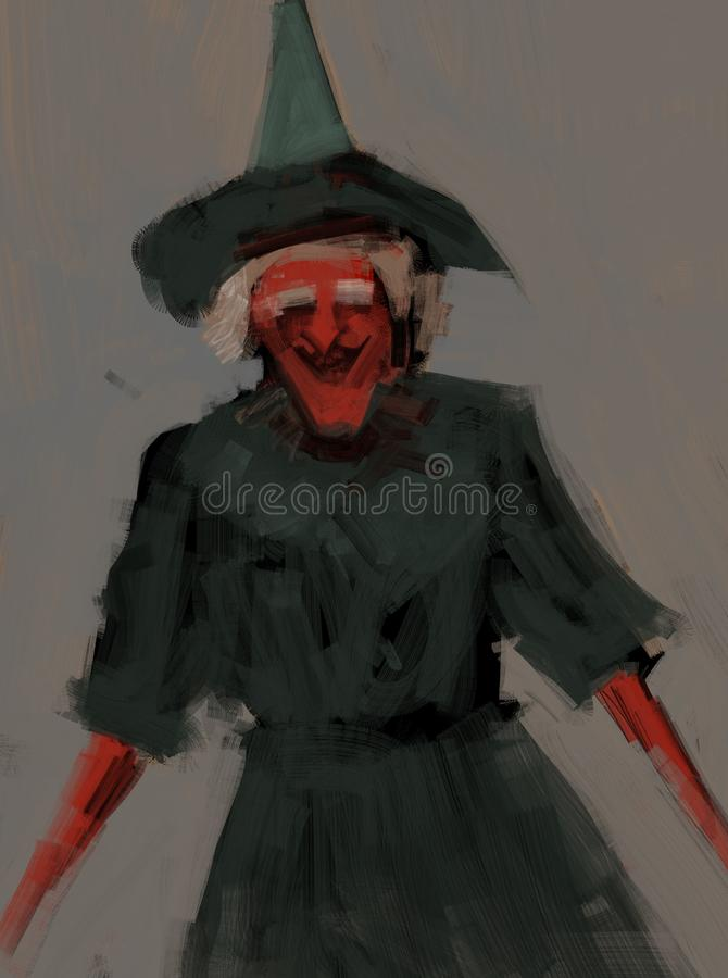 Digital traditional painting of a witch with costume and big nose laughing illustration royalty free illustration