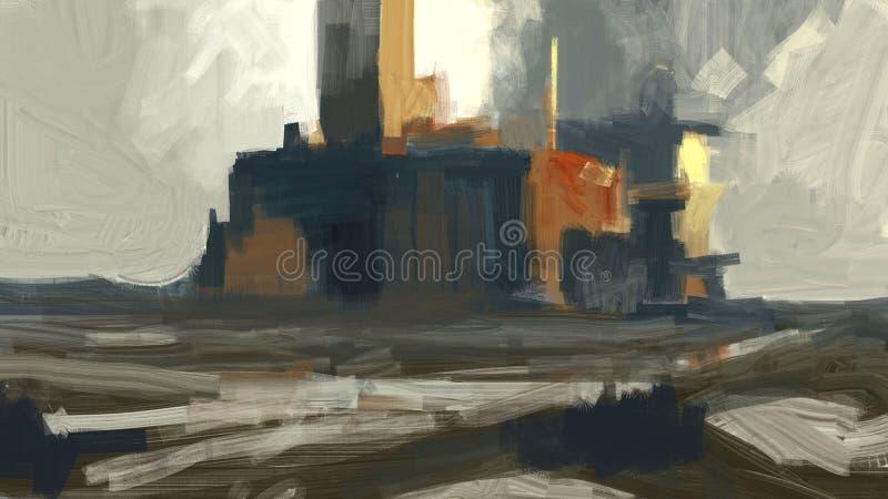 Digital traditionell målning av en fabriksbyggnad i avståndslandskapet med den digitala illustrationen för moln royaltyfri illustrationer