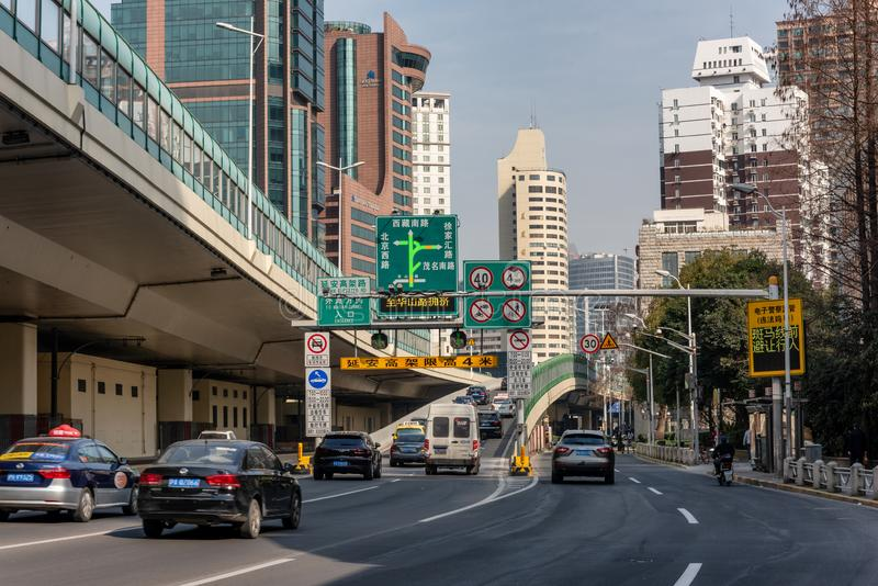 A digital traffic congestion monitor on elevated highway, Shanghai royalty free stock photo