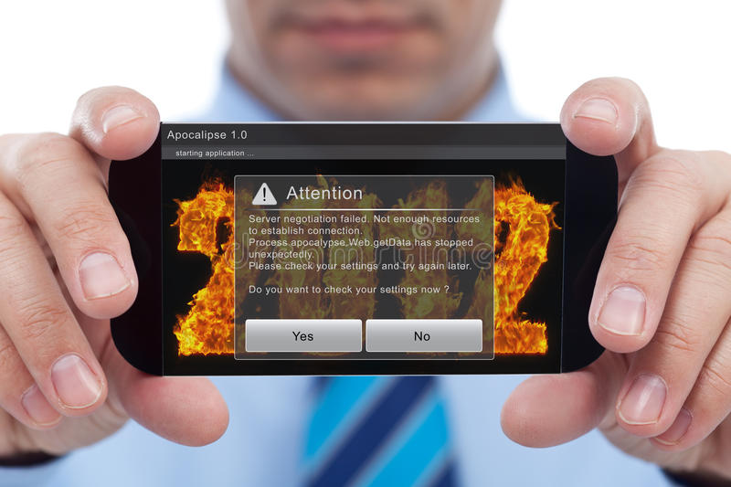 Digital tragedy. Businessman with smartphone failing to play apocalypse game