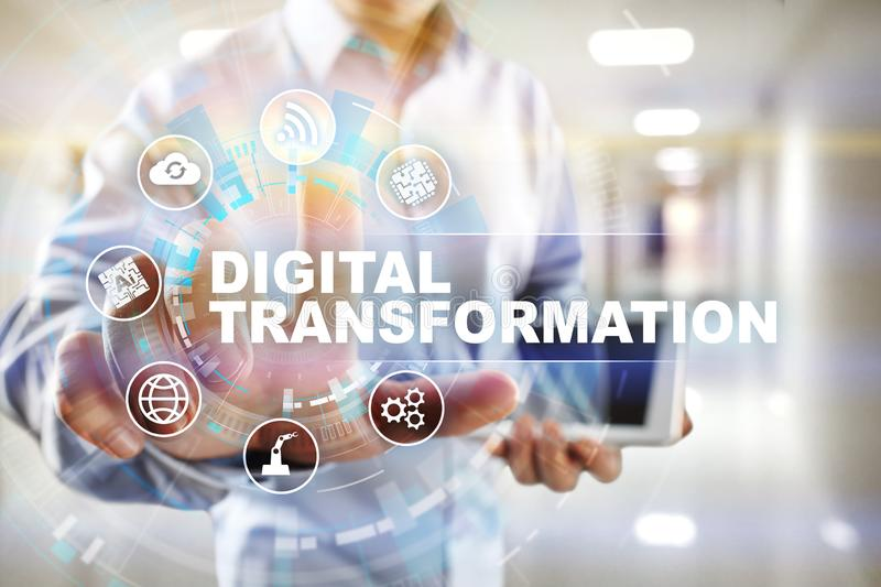 Digital transformation, Concept of digitization of business processes and modern technology. Digital transformation, Concept of digitization of business stock photos