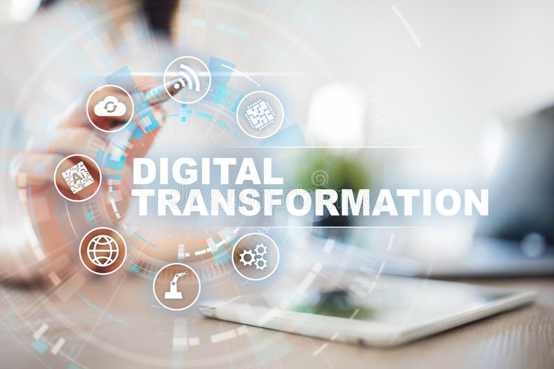 Digital transformation, Concept of digitization of business processes and modern technology. royalty free stock image