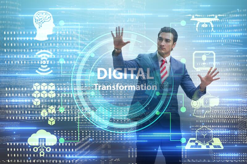 Digital transformation and digitalization technology concept royalty free stock photos