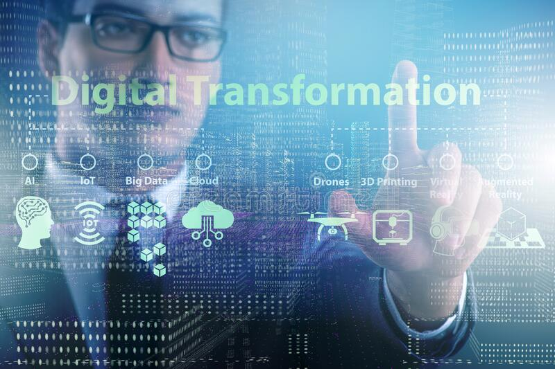 Digital transformation and digitalization technology concept stock photography