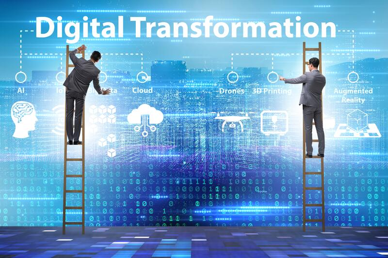 Digital transformation and digitalization technology concept royalty free stock photography