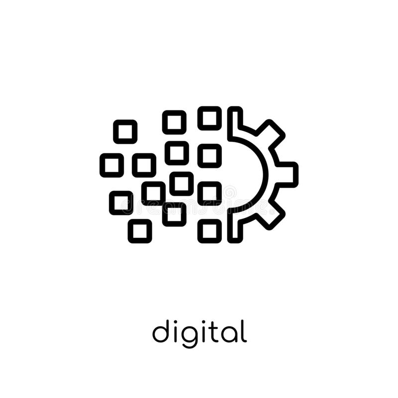 digital transformation icon. Trendy modern flat linear vector di stock illustration