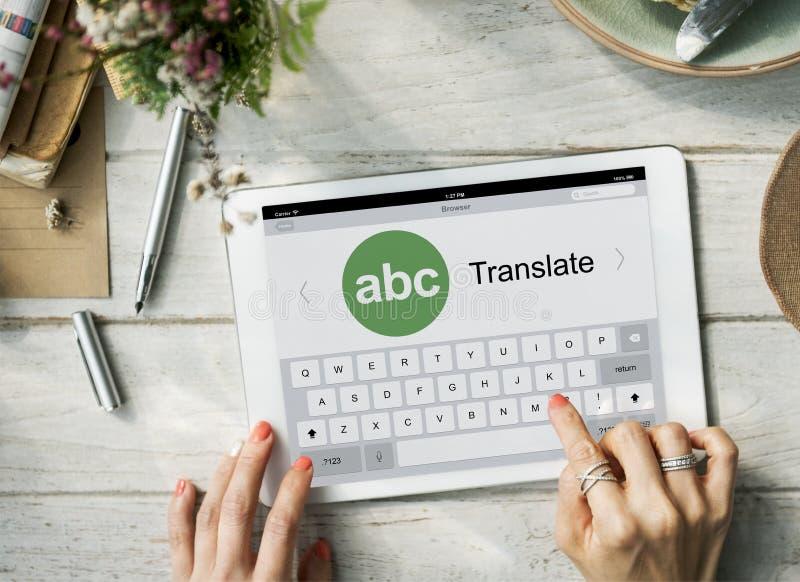 Digital Translate Application Online Concept. Digital Tablet Technology Translate Concept royalty free stock image