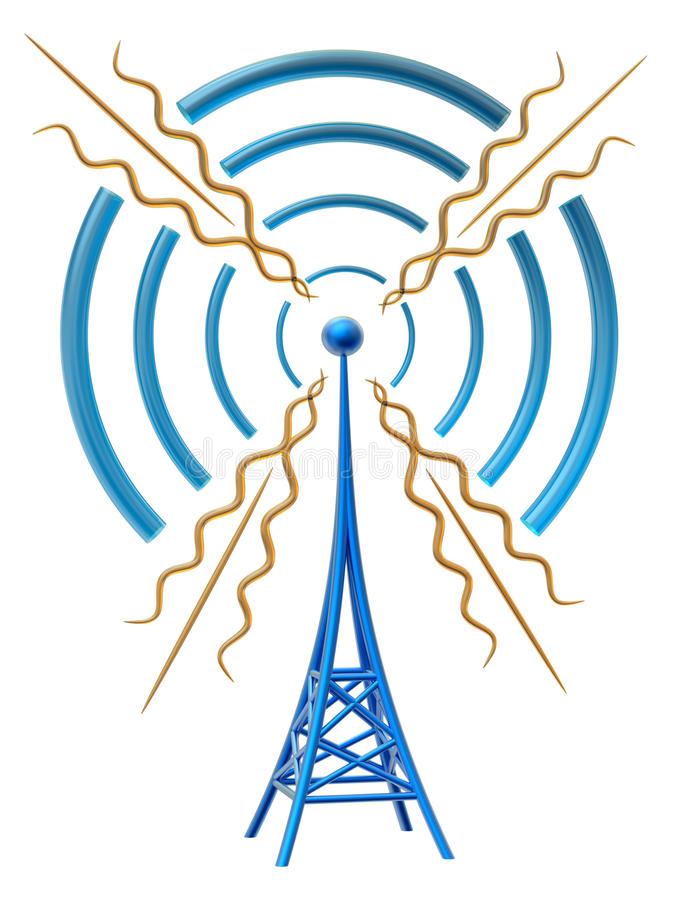 Digital transmitter sends signals from high tower. Powerful digital transmitter for TV, mobile and multimedia broadcast sends information signals from high tower stock illustration