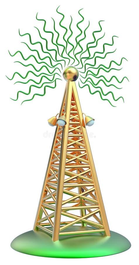 Digital transmitter sends signals from high tower. Powerful digital transmitter for TV, mobile and multimedia broadcast sends information signals from high tower royalty free illustration