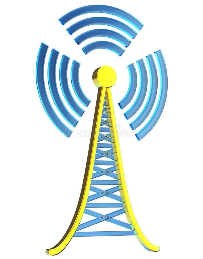 Digital transmitter sends signals from high tower. Powerful digital transmitter for TV, mobile and multimedia broadcast sends information signals from high tower vector illustration