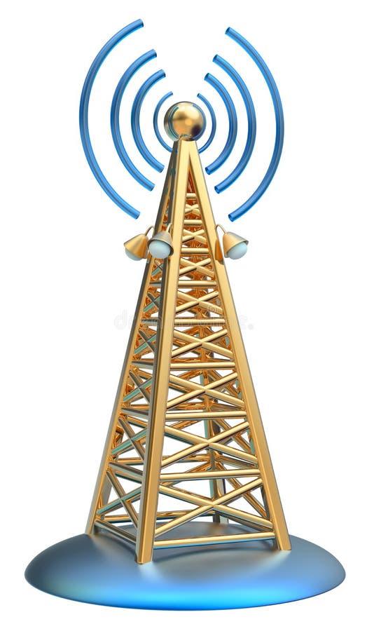 Digital transmitter sends signals from high tower. Powerful digital transmitter for TV, mobile and multimedia broadcast sends information signals from high tower stock illustration