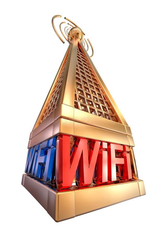 Digital transmitter sends signals from high tower. Powerful digital transmitter for TV, mobile and multimedia broadcast sends wi-fi signals from high tower vector illustration