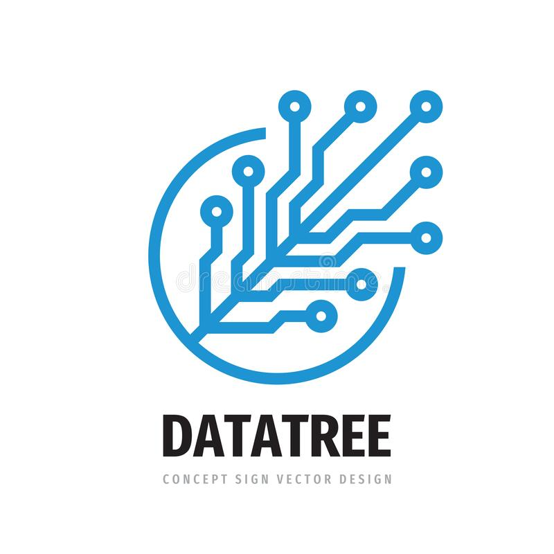 Free Digital Tree Logo Design. Computer Network Sign. Data Electronic Graphic Symbol. Internet Icon. Software & Hardware Concept Symbol Stock Photography - 178345002