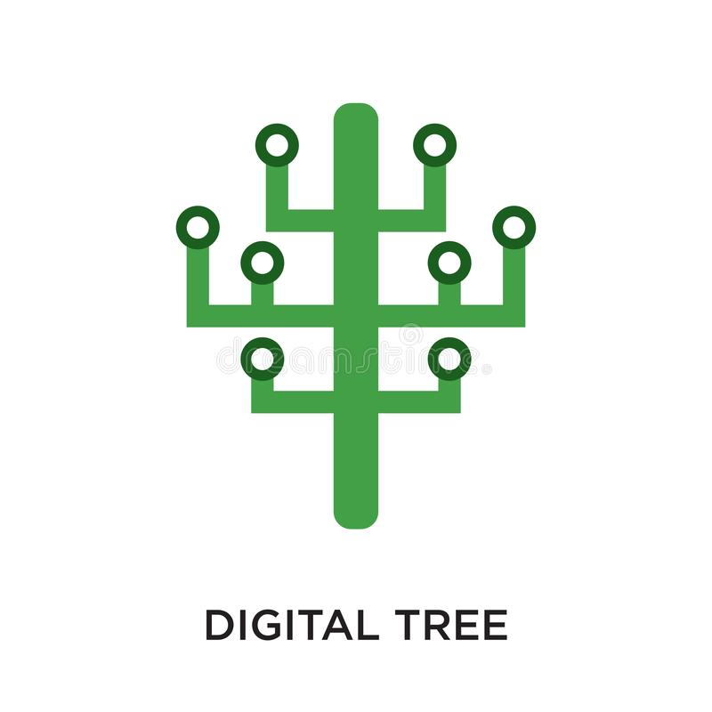 digital tree logo isolated on white background for your web, mob royalty free illustration