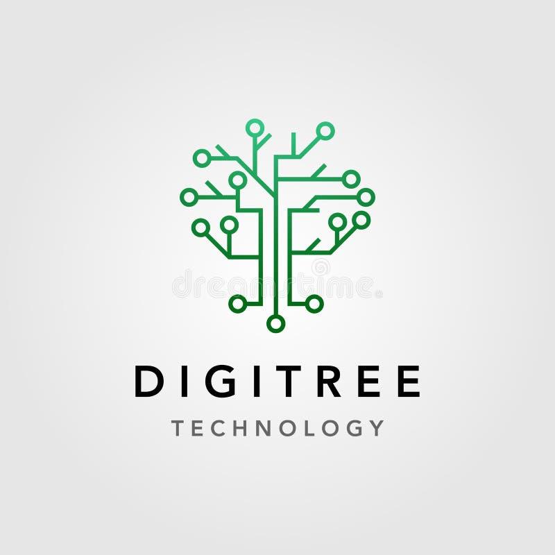 Digital tree technology electric circuit logo vector design vector illustration