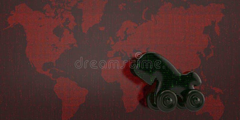 Digital trojan på röd digital världskarta illustration 3d vektor illustrationer