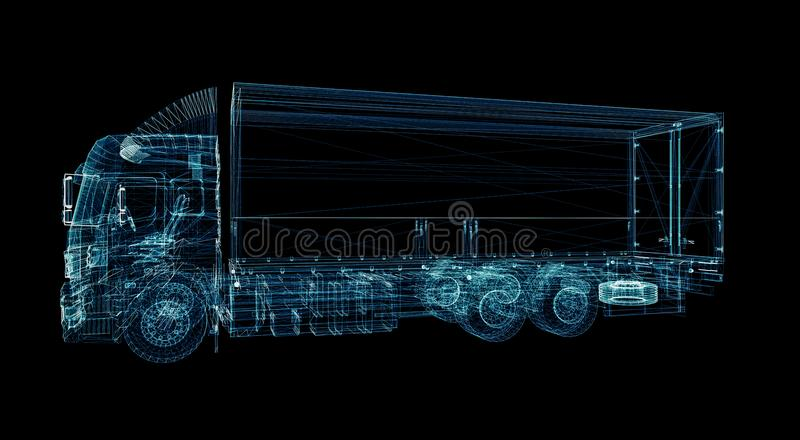 Digital Truck. The concept of digital technology. In the delivery industry. 3D Illustration royalty free stock photography