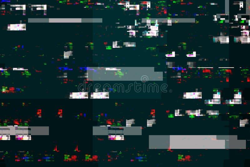 Digital tv damage, television broadcast glitch stock illustration