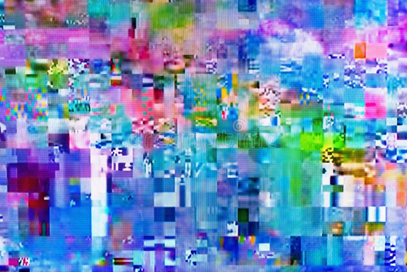 Digital TV glitch on television screen. With misplaced squares, static effects and freezing problems during broadcast failure royalty free illustration
