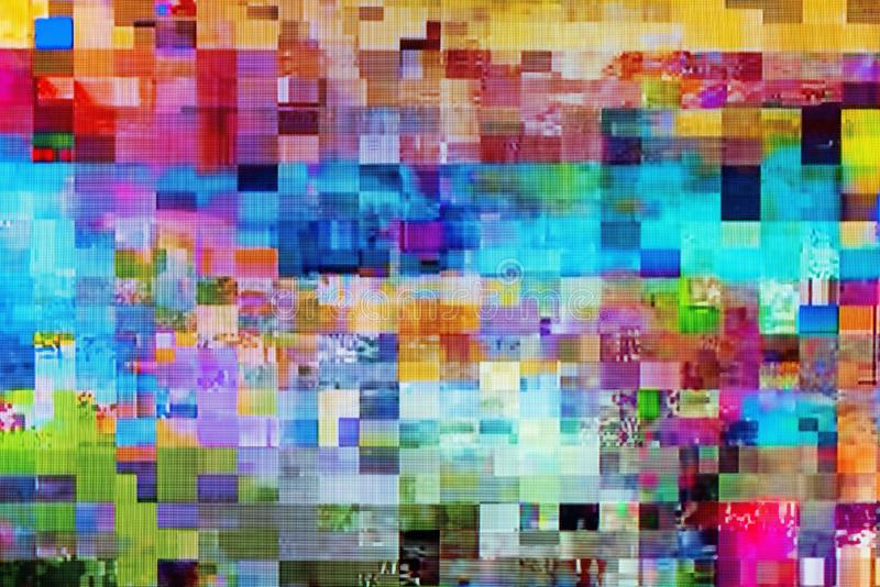 Digital TV glitch on television screen. With misplaced squares, static effects and freezing problems during broadcast failure stock illustration