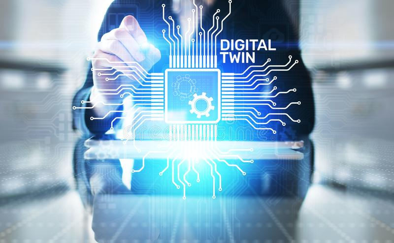 Digital twin business and industrial process modelling. innovation and optimisation. stock illustration