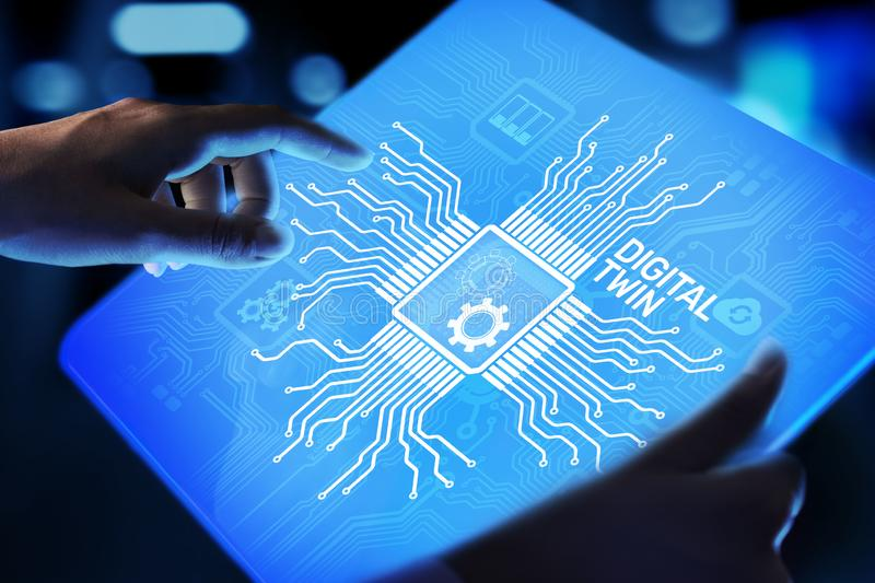 Digital twin business and industrial process modelling. innovation and optimisation. Digital twin business and industrial process modelling. innovation and royalty free stock images