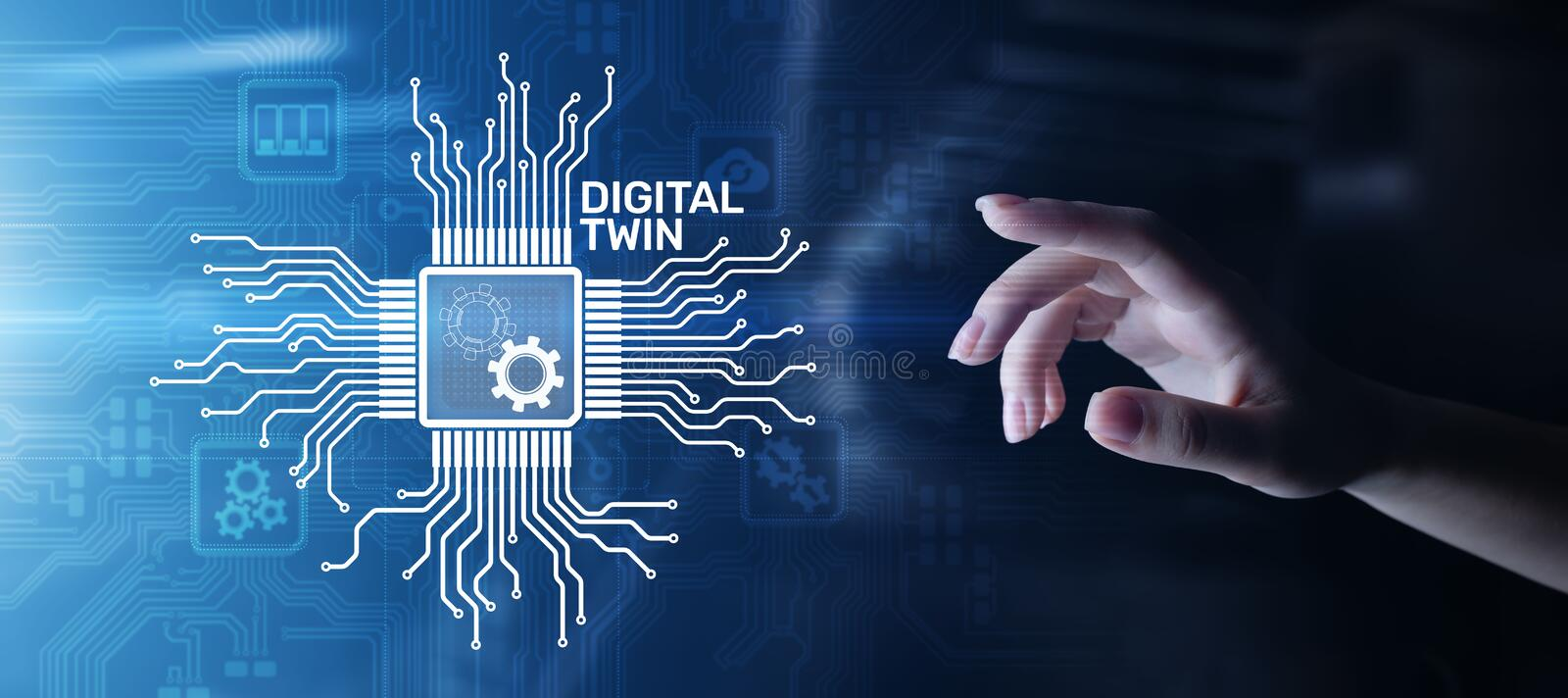 Digital twin business and industrial process modelling. innovation and optimisation. vector illustration