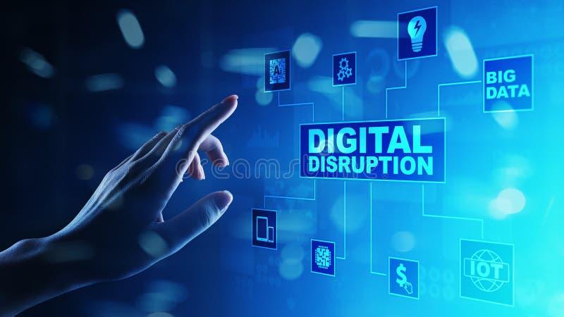 Digital-Unterbrechung Unterbrechungsgeschäftsideen Internet von Sachen, von Netz, von intelligenter Stadt und von Maschinen, groß stockfoto