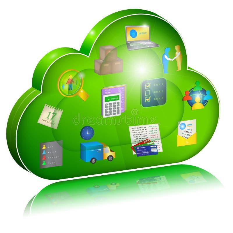 Digital-Unternehmensmanagement in der Wolkenanwendung Konzeptikone lizenzfreie abbildung