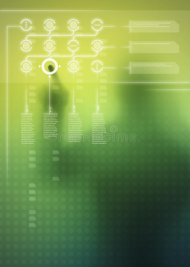 Digital User Interface. Futuristic green digital display with user interface design and human silhouette in background stock image