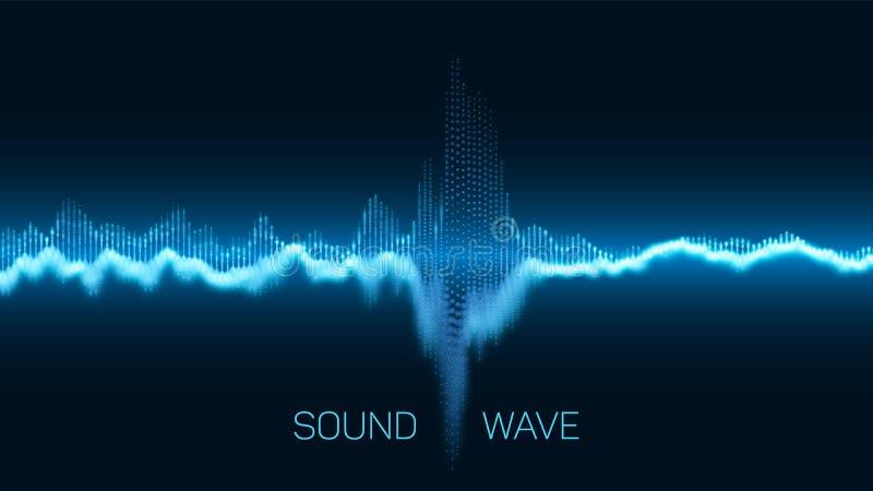 Digital utjämnare för vektorabstrakt begreppblått med grunt djup av fälteffekt Vektor av den solida vågen Glödande punkter signal vektor illustrationer