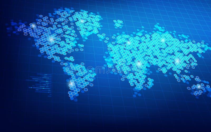 Digital världskarta stock illustrationer