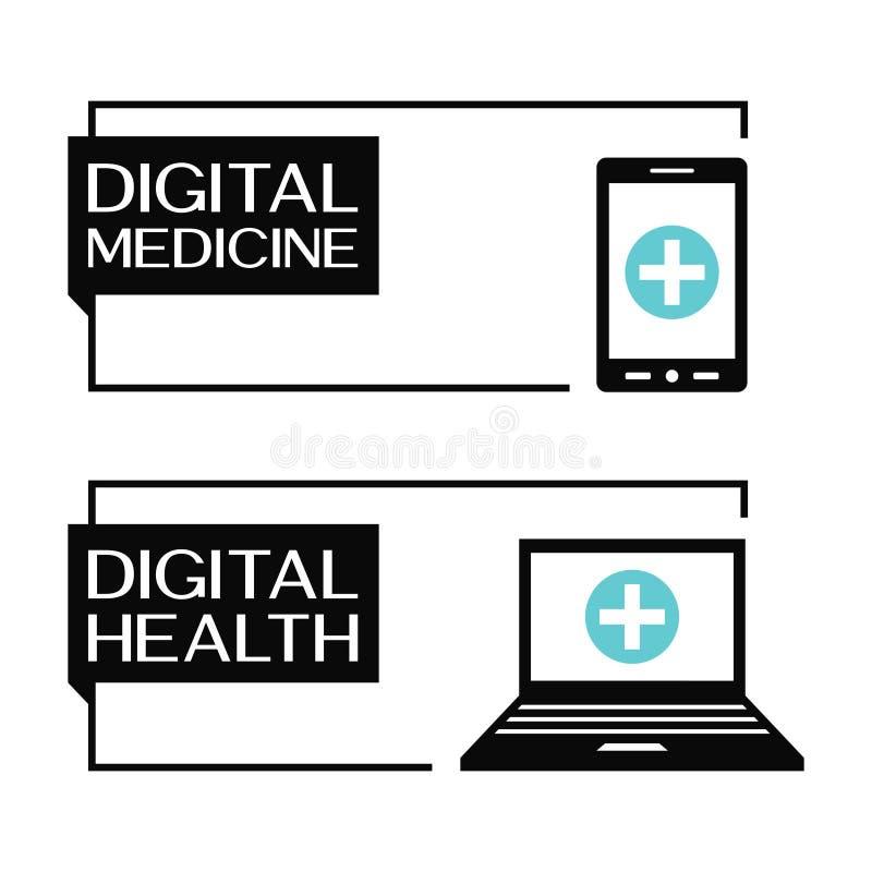 Digital vård- baner med dator- och smartphonesymboler stock illustrationer