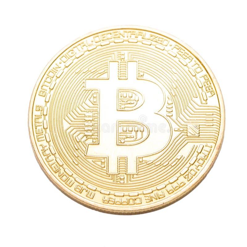 Digital valuta Cryptocurrency Guld- Bitcoin som isoleras på vit bakgrund Läkarundersökningbitmynt royaltyfri bild