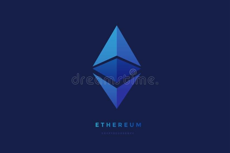 Digital valuta Ethereum Criptocurrency chrystal symbol Symbol av smarta teknologier på blå bakgrund stock illustrationer