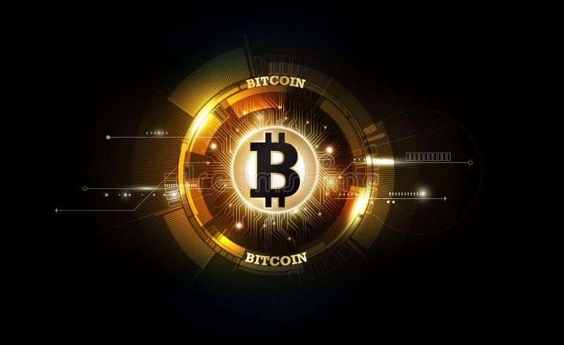 Digital valuta för guld- bitcoin, futuristiska digitala pengar, världsomspännande nätverksbegrepp för teknologi, vektorillustrati vektor illustrationer