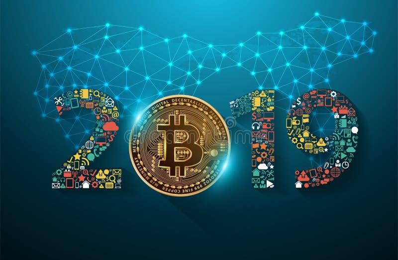 Digital valuta för guld- bitcoin med 2019 nya år stock illustrationer