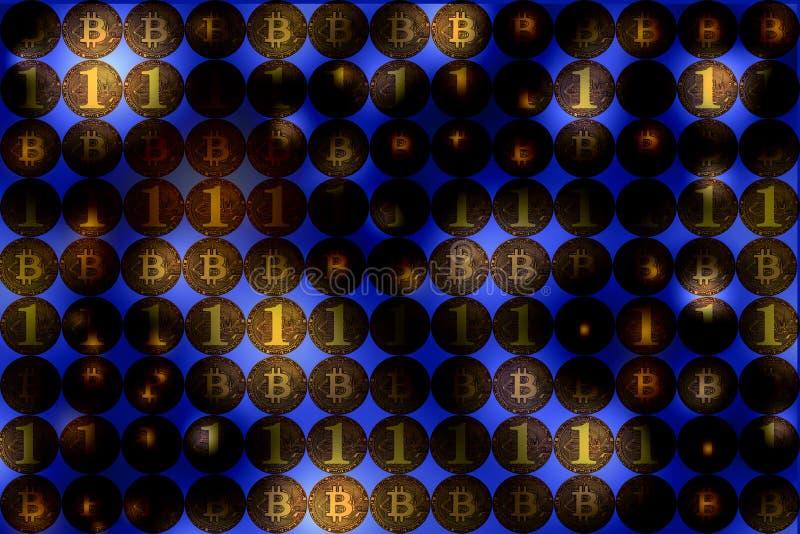 Digital valuta och finansiell affärsidé, bitcoinvägg, b arkivbilder