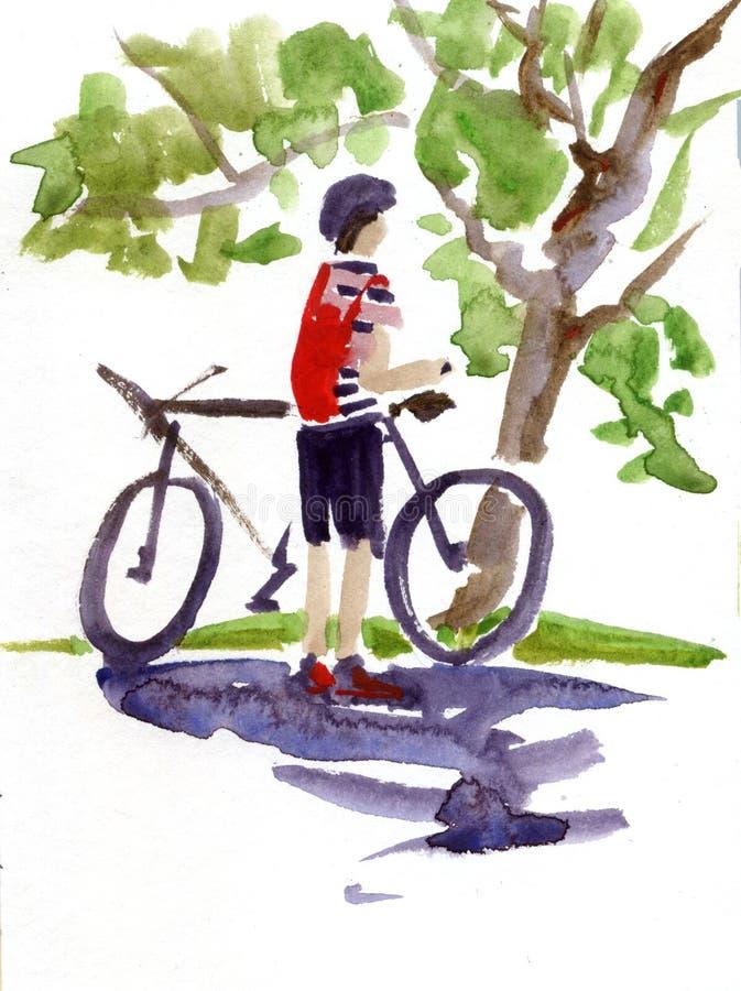 Digital vattenfärgmålning av en man på en cykelridning på en cykel fotografering för bildbyråer
