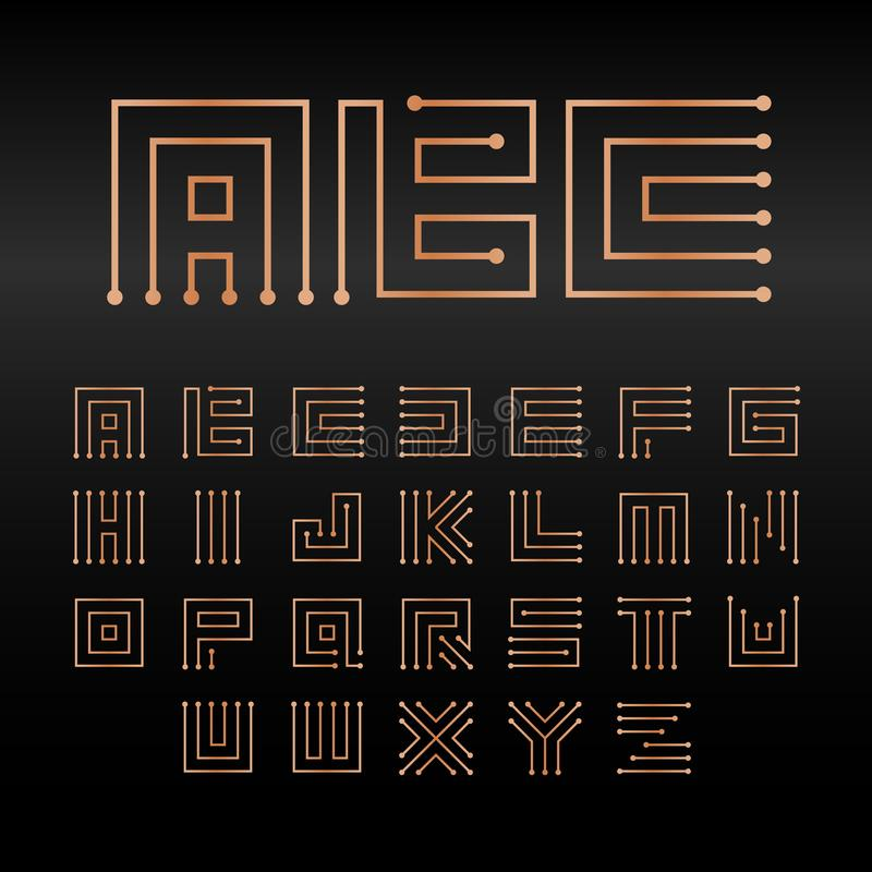 Digital vector alphabet, isolated abstract technology font. Microchip ABC logo set. Electronic circuitry signs. Collection royalty free illustration
