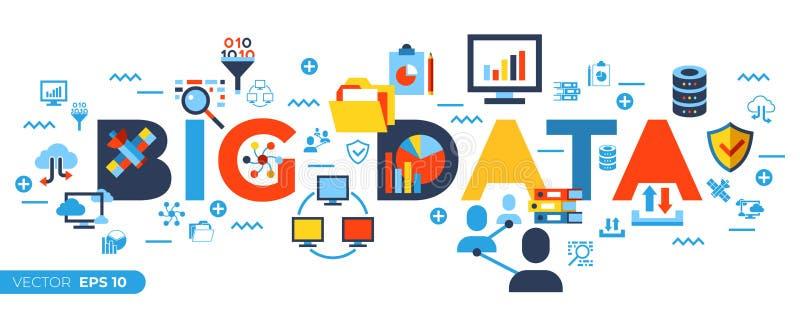 Digital vector big data icons set vector illustration
