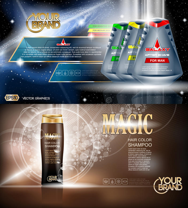 Digital vector blue and brown shower gel. And shampoo for men mockup on water background with bubbles, oil skin pretector, your brand, ready for design stock illustration