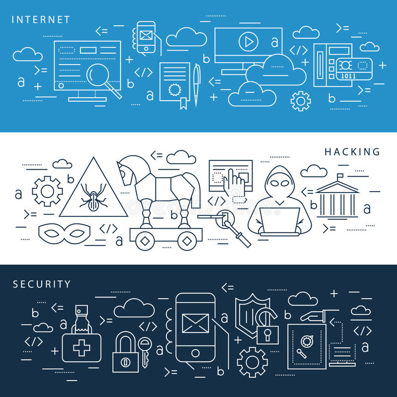 Digital vector blue internet security. Data protection icons set drawn simple line art info graphic poster, hacker user bug vulnerability mobile email trojan royalty free illustration